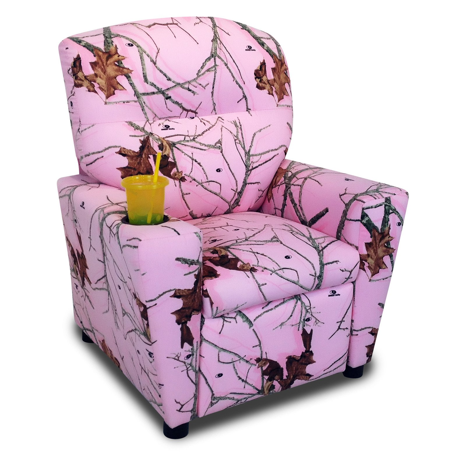 Mossy Oak Lifestyle Pink Kid's Recliner with cupholder