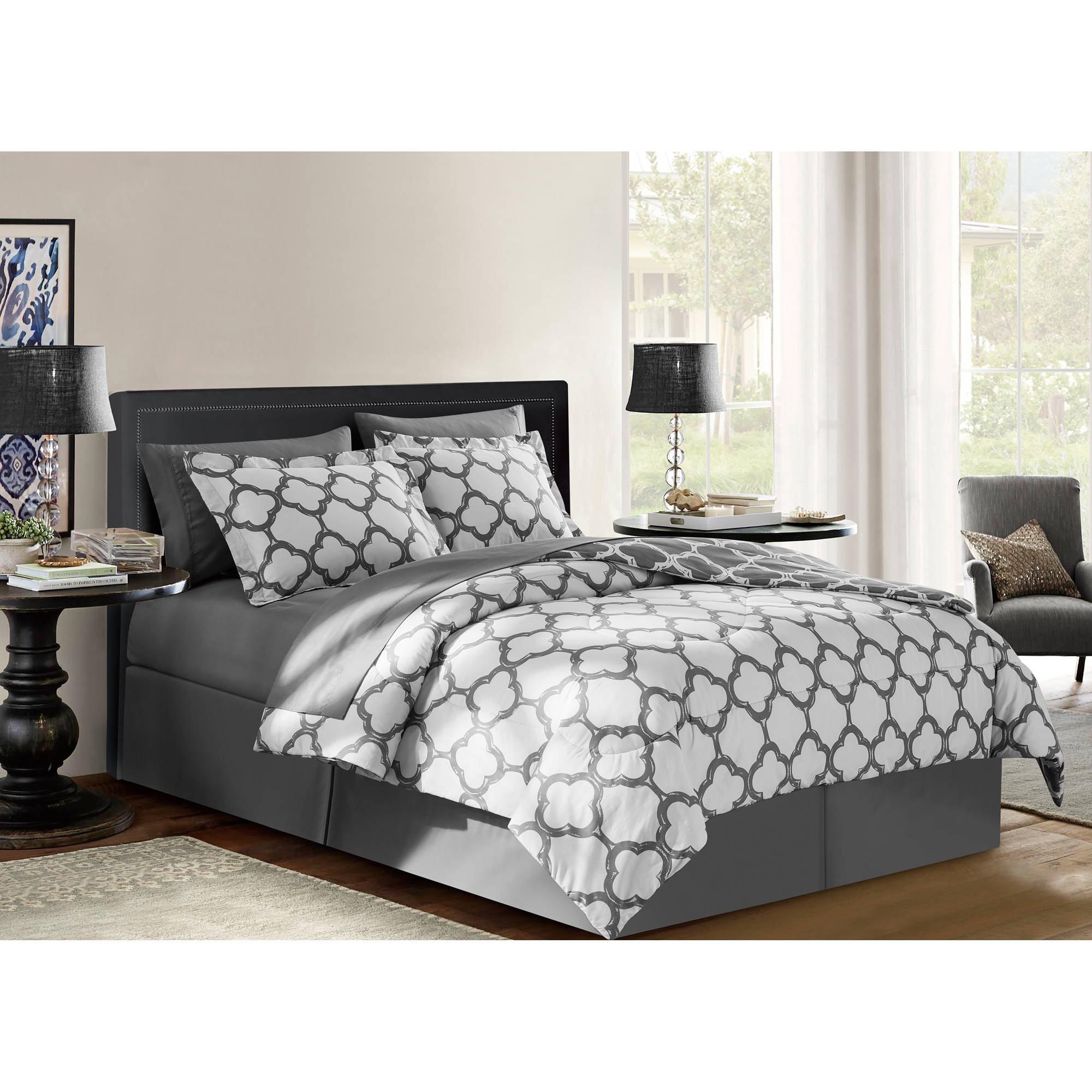 VCNY Home Galaxy Two-Tone Geometric Reversible Bed in a Bag Bedding Set, Shams and Sheet Set Included