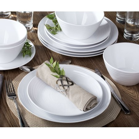 2d2394bf6be Parhoma 12-Piece Modern White Melamine Dinnerware Set Service for 4 People  - Walmart.com