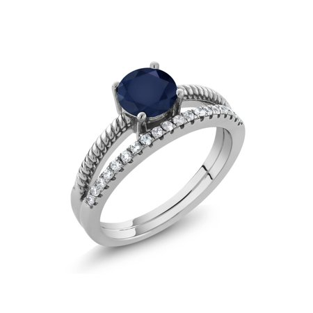 8m Sapphire - 1.19 Ct Round Blue Sapphire 925 Sterling Silver Ring