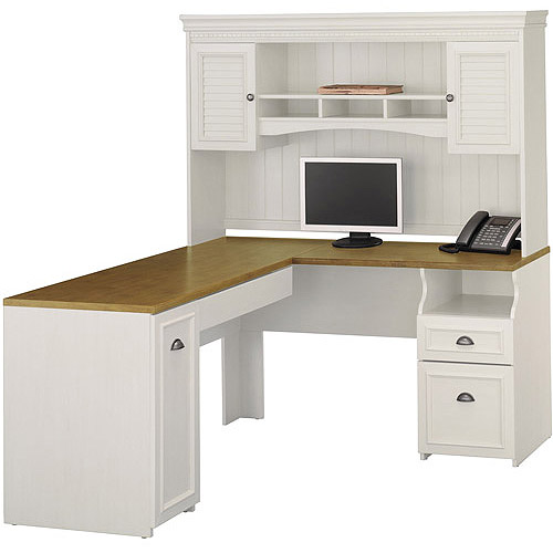 bush fairview collection lshaped desk with hutch antique white - Bush Office Furniture