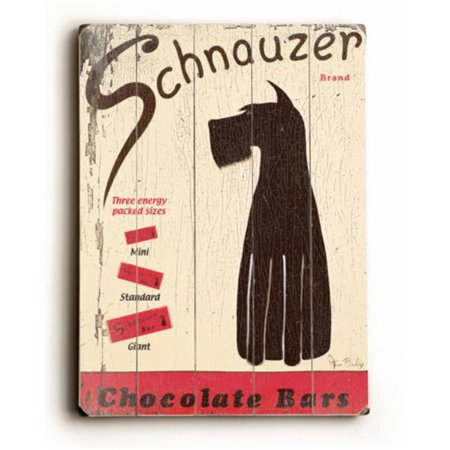 One Bella Casa 0003-1119-38 12 x 16 in. Schnauzer Chocolate Bars Planked Wood Wall Decor by Ken Bailey