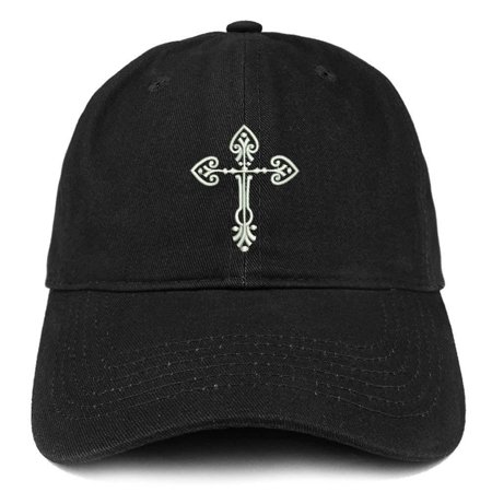 Trendy Apparel Shop Cross Design Embroidered Brushed Cotton Dad Hat Ball Cap -