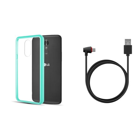 Slim Crystal Clear Hybrid Drop Protection Cover Case (Aqua Teal Green) with 90 Degree Vertical Right Angle USB Type-C to Type-A Cable (4 Feet) and Atom Cloth for LG Stylo (Green Vertical Vases)