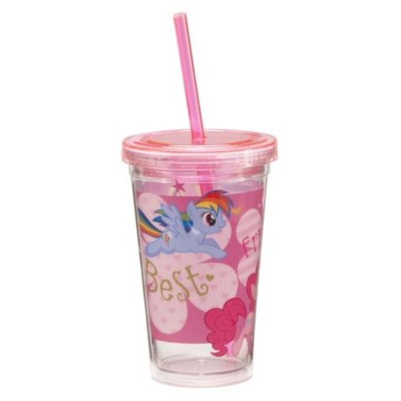 Vandor 42014 My Little Pony 12 oz Acrylic Travel Cup with Lid and Straw, Multicolor Multi-Colored - Cup With Lid And Straw