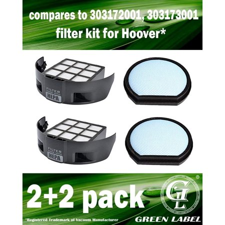 (2 Pack HEPA Filter + 2 Pack Foam Filter for Hoover T-Series Windtunnel Vacuum Cleaners, model UH70120 (compares to 303172001, 303173001). Genuine Green Label product)