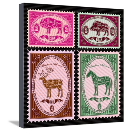 Horse Postage - Set of Vector Postage Stamps with Boar, Bison, Deer, Horse Stretched Canvas Print Wall Art By 111chemodan111