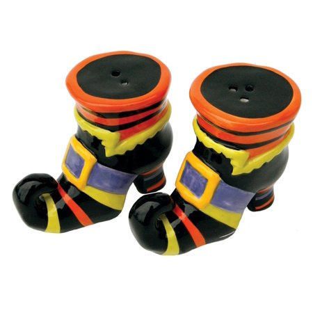 Halloween Witch Boots or Shoes Ceramic Salt and Pepper Shaker Set - Halloween Game Shakers