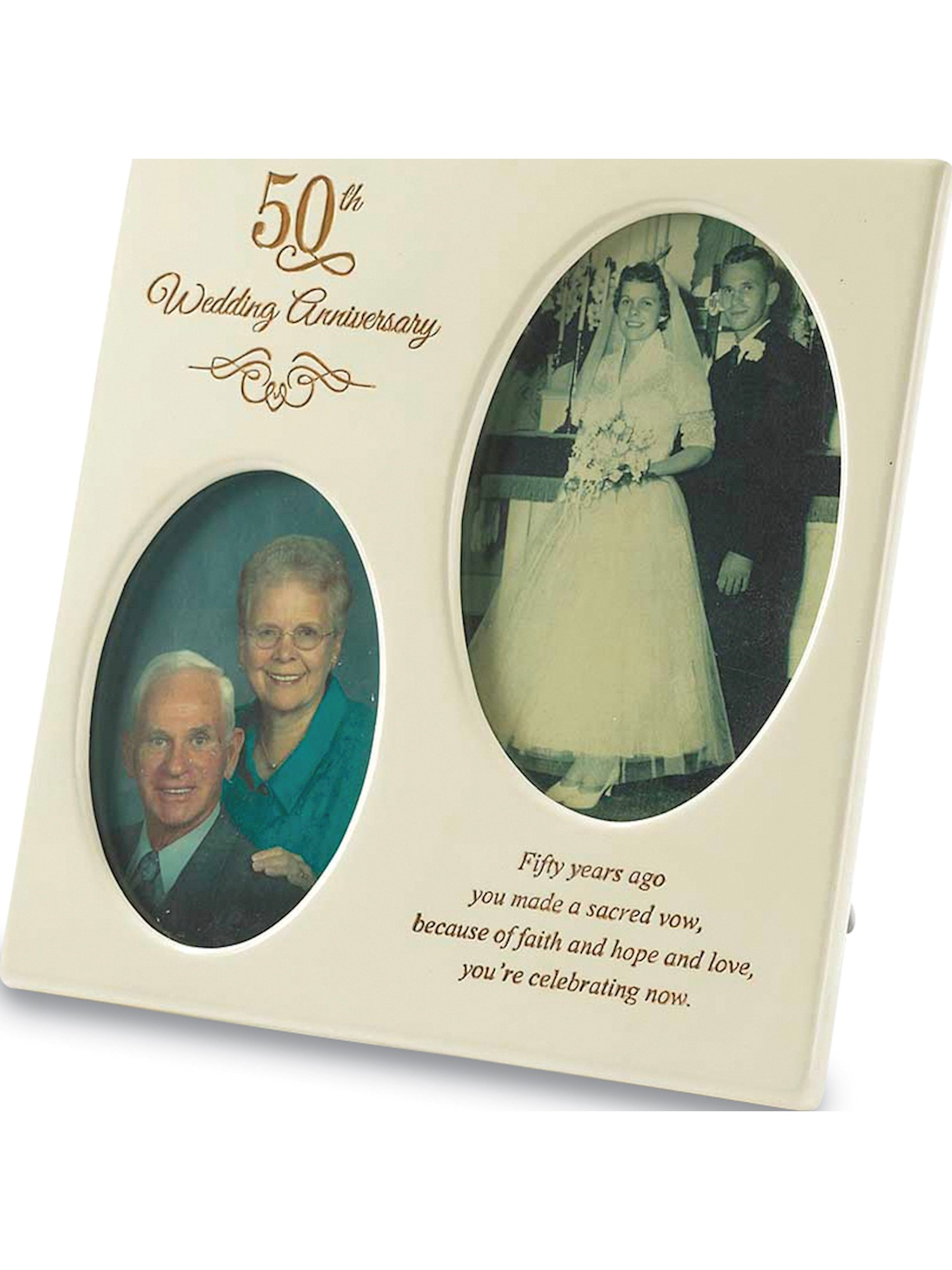 50th Anniversary Double Photo Frame 4x4mm