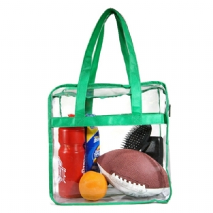 Deluxe Clear Tote Bag w/Zipper, NFL Stadium Approved Security Bag, Clear Vinyl, Shoulder Straps, Green Trim, Heavy Duty