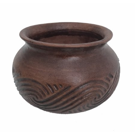 Champoli Glazed Ceramic Pot - Glossy Brown Clay - 6.75