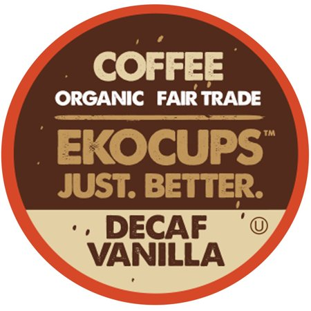 EkoCups, Organic Decaf Fair Trade Vanilla Coffee in Single Serve Cups, 40 Ct - Fair Trade Organic Chocolate Halloween