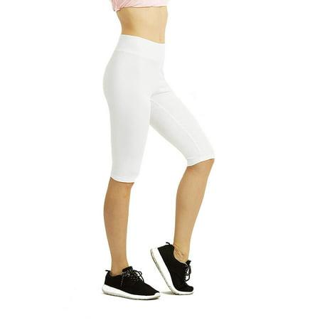 DailyWear Womens Solid Knee Length Short Yoga Cotton Leggings (White, XLarge)](White Toga)