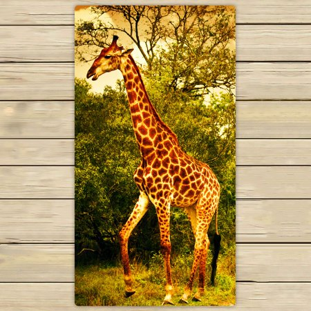 PHFZK Wildlife African Safari Towel, Giraffe and Animals Art Wild Jungle Desert Themed Orange Brown Green Hand Towel Bath Bathroom Shower Towels Beach Towel 30x56 inches (Theme Beach)