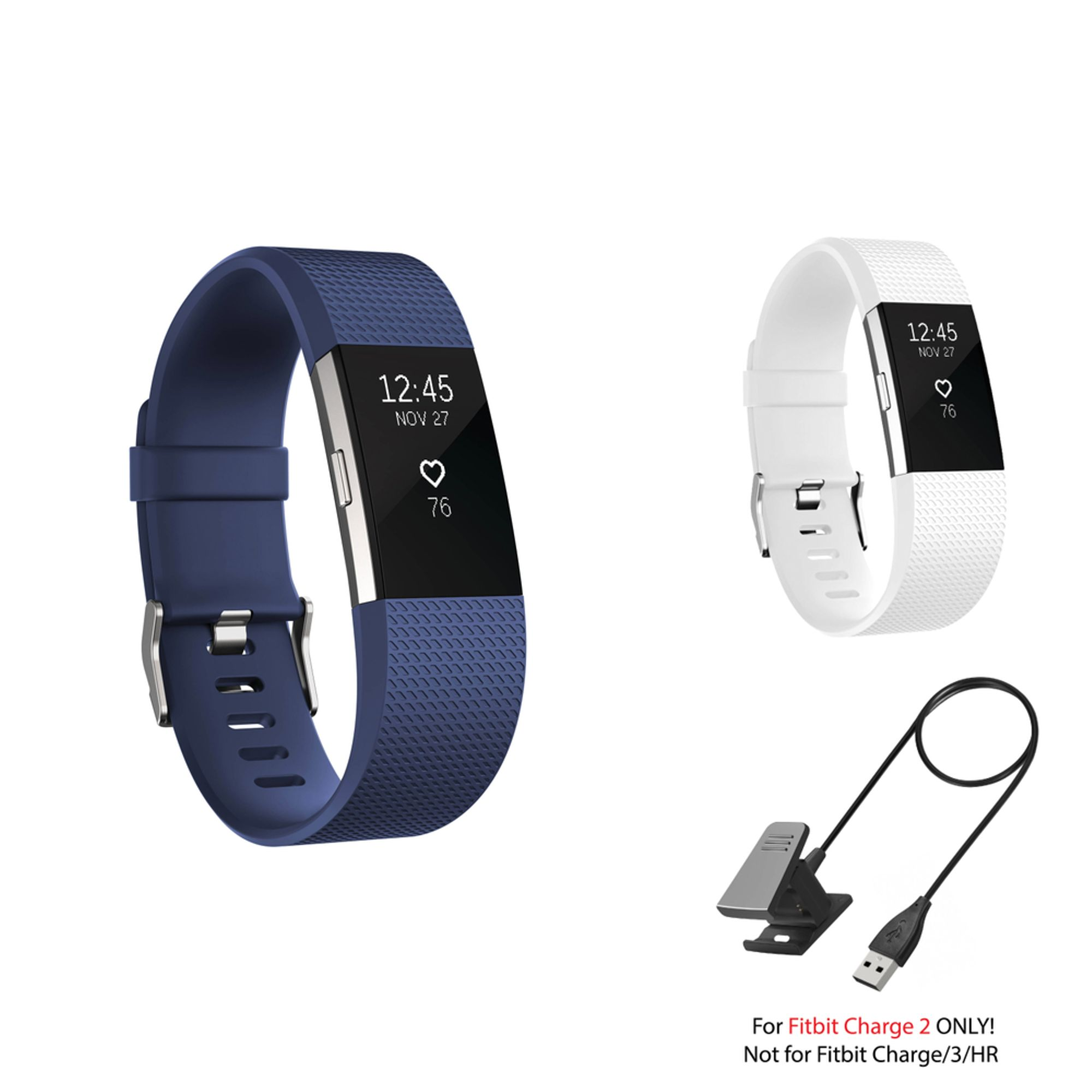 Fitbit Charge 2 Bands and Fitbit Charge 2 Charger by Zodaca 2 pc (Drak Blue & White) Replacement Bands Rubber Wristband Fashion Sport Strap with Metal Buckle and USB Charging Cable for Fitbit Charge 2