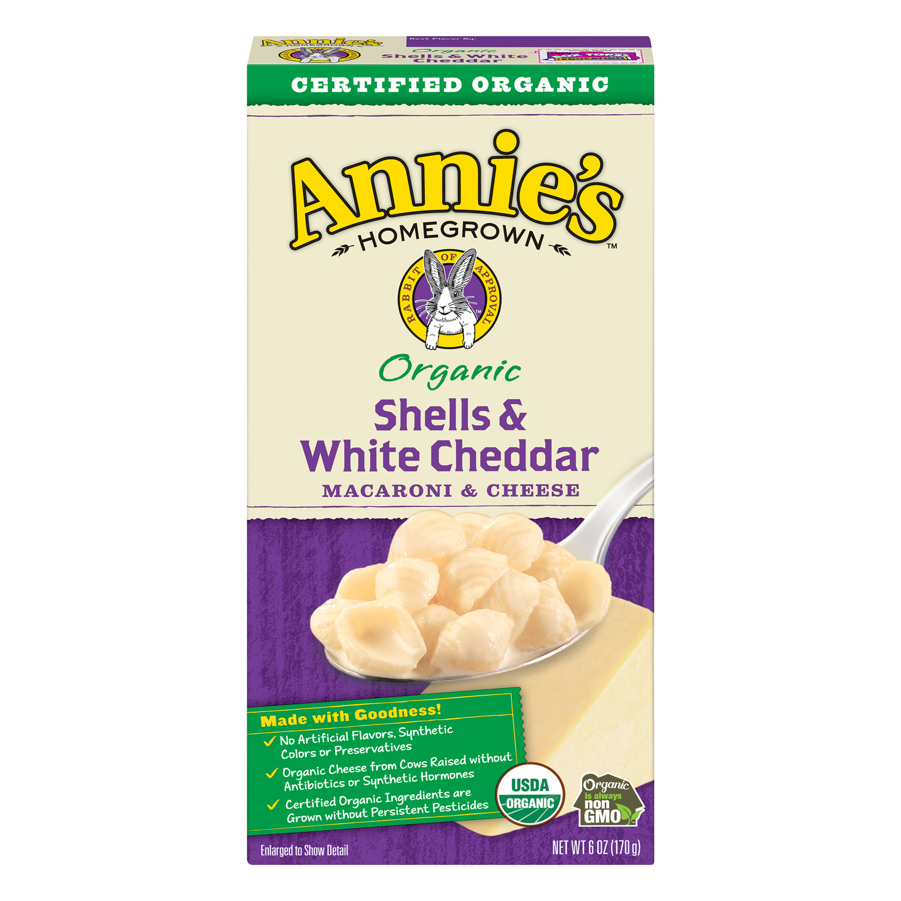Annie's Organic Shells and White Cheddar Macaroni and Cheese, 6 oz