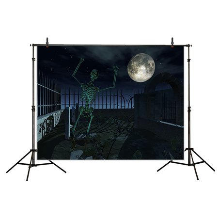 HelloDecor Polyster Halloween 7x5ft Theme terror party Backdrop background Computer Printed photography Full moon tombstone skull skeleton photo studio backdrops prop wallpaper mural - Computer Themed Halloween Costumes