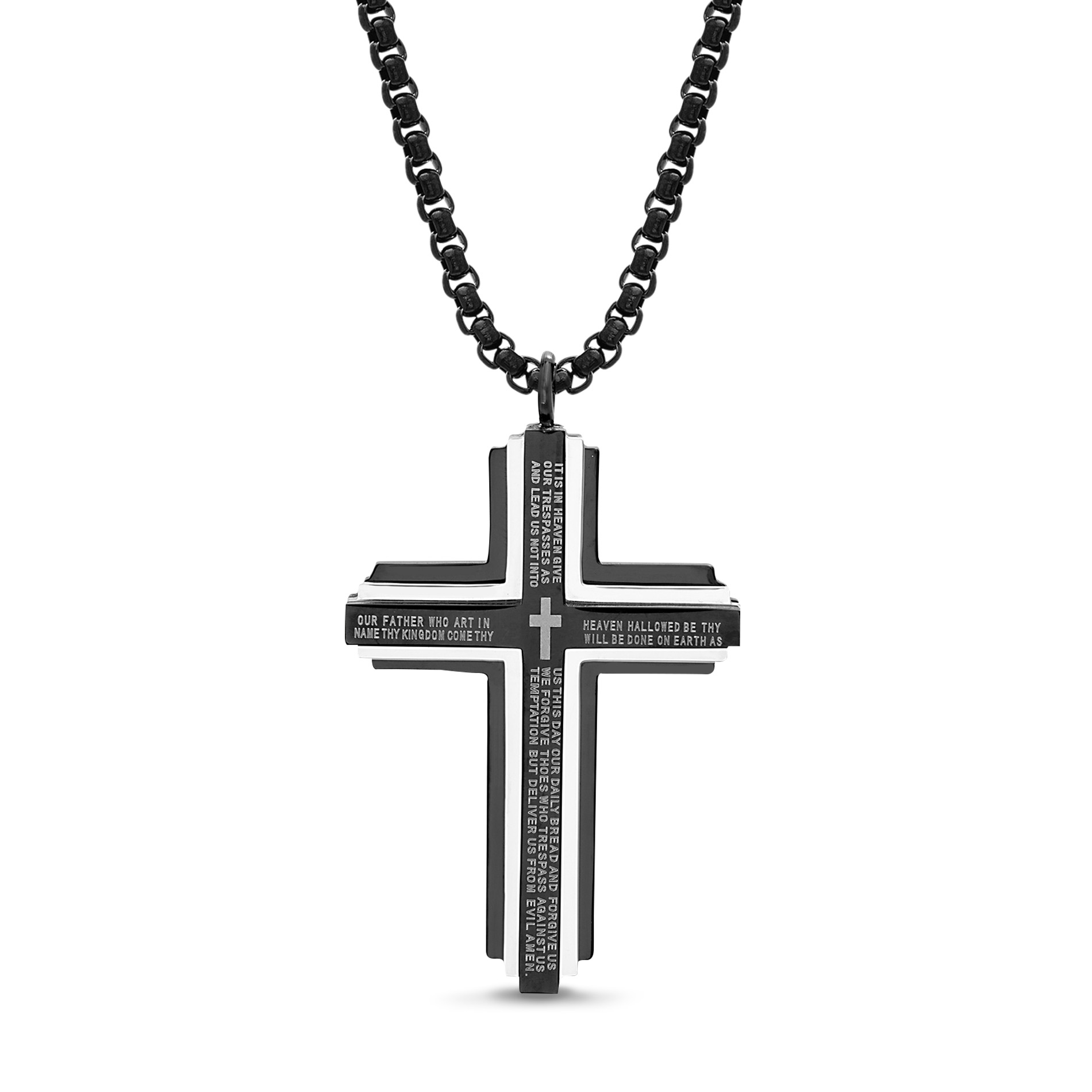 RoseCharm Beautiful Stainless Steel Polished /& Yellow IP-Plated Crucifix Necklace