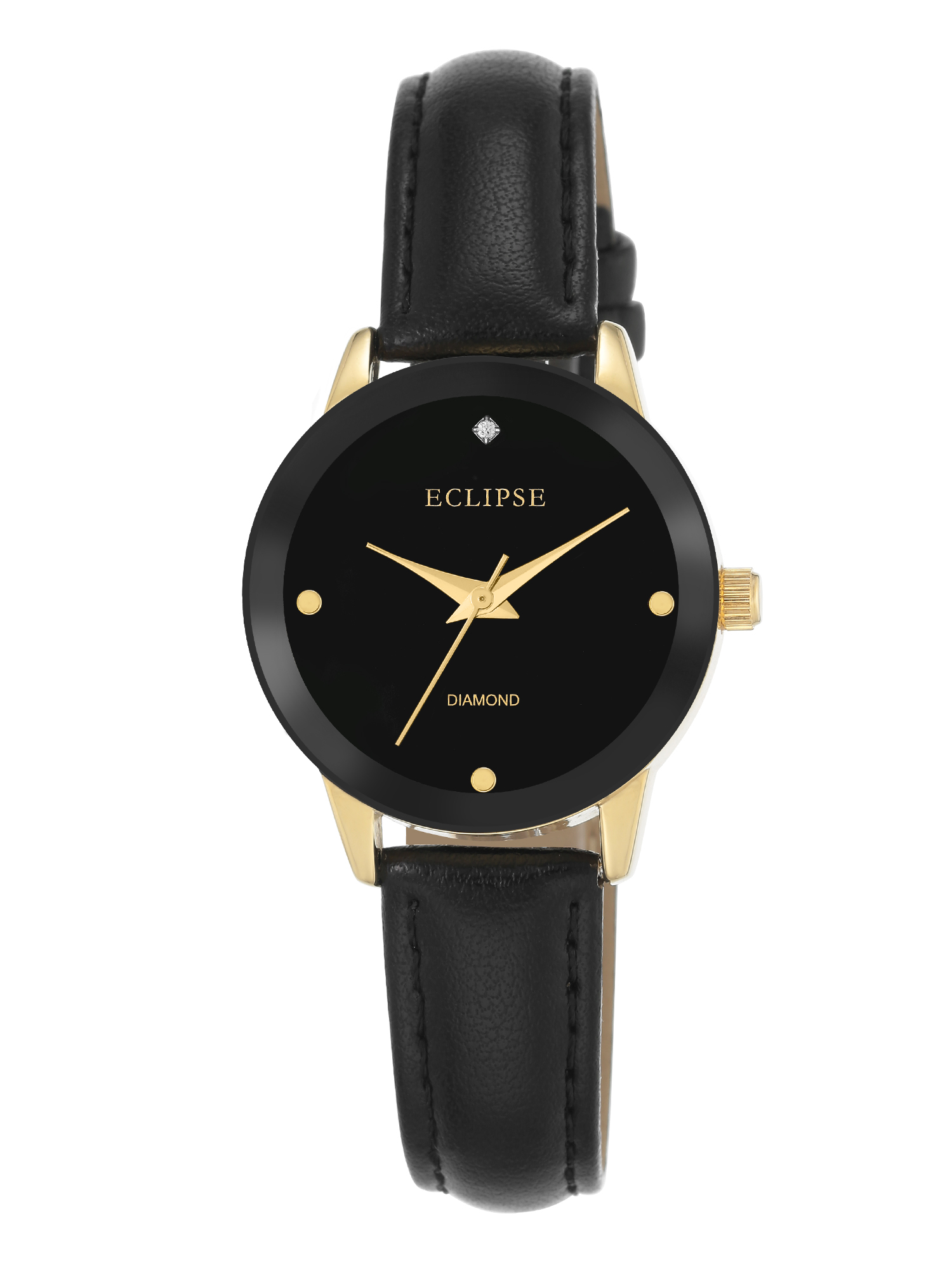 Eclipse by Armitron Women's Black Leather Band Casual Watch