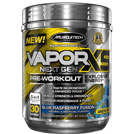 MuscleTech Vapor X5 Next Gen - 30 Portions Blue Raspberry Fusion (pré-entraînement)