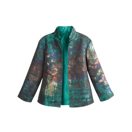 Women's Monet Impressionist Print Jacket - Open Front High Collar