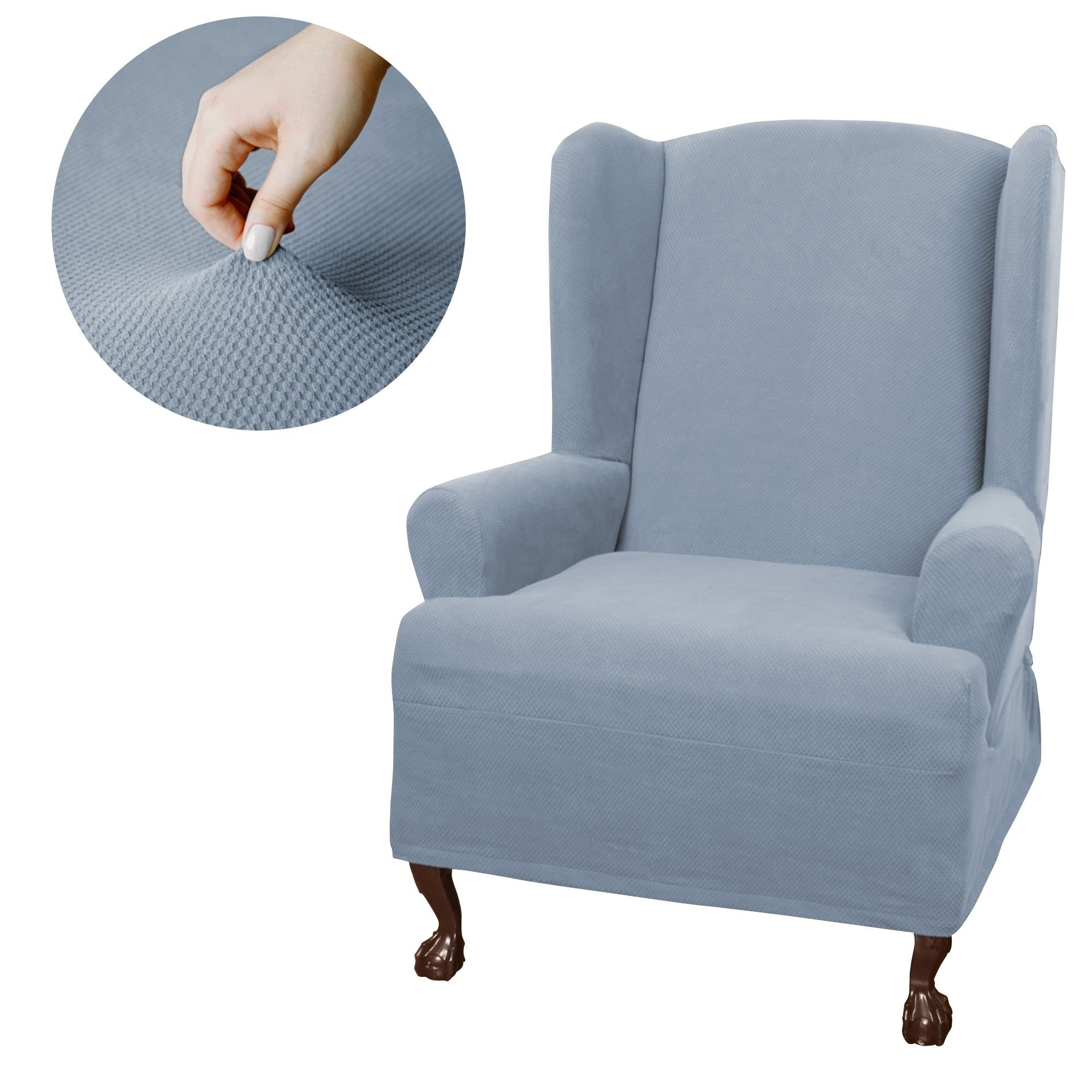 Maytex Pixel Stretch 1 Piece Wing Chair Furniture Cover Slipcover
