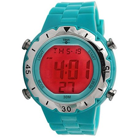 Chronograph Tachymeter Rubber (Trax TR2238TQ Turquoise Rubber Digital Chronograph Watch )