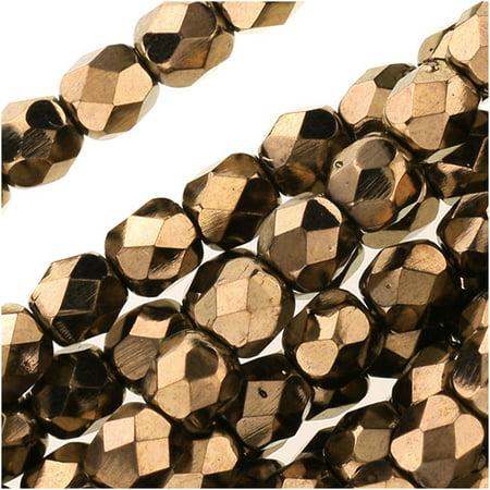Czech Fire Polished Glass Beads 4mm Round - Metallic Bronze (50) (Metallic Beads)