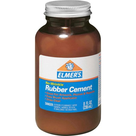 Elmer's, EPI231, ROSS 8 oz Bottle with Brush Rubber Cement, 1 Each, Brown