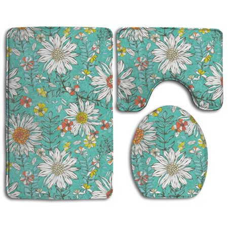 EREHome Summer Skies Turquoise Daisies 3 Piece Bathroom Rugs Set Bath Rug Contour Mat and Toilet Lid Cover - image 1 de 2