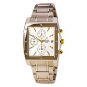 PF8341 Men's Casual Square Chronograph Silver Dial Stainless Steel Bracelet Watch