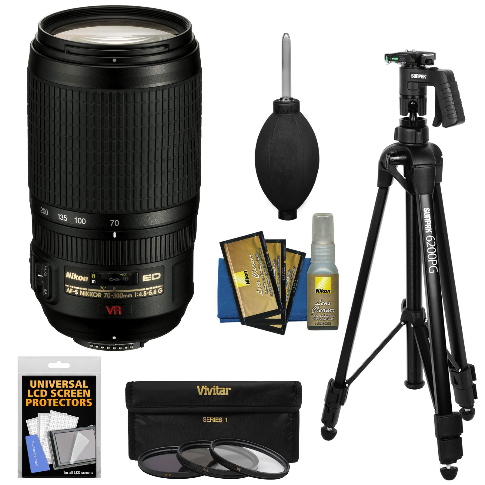 Nikon 70-300mm f/4.5-5.6 G VR AF-S Zoom-Nikkor Lens + 3 Filters + Pistol Grip Tripod for D3200, D3300, D5300, D5500, D7100, D7200, D750, D810 Camera