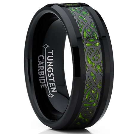 Ring Wright Co. Black Tungsten Carbide Dragon Ring Wedding Band Green Carbon Fiber Comfort Fit 8mm - Dragon Ring Jewelry