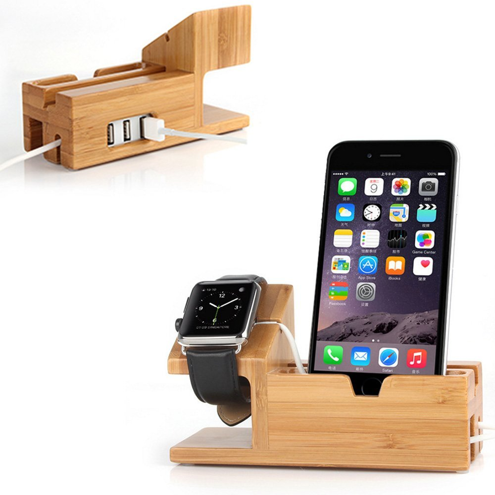 Apple Watch Stand with USB 2.0 Hub, Mignova iWatch Bamboo Wood C harging Dock Station Cradle Holder With 3 Ports USB 2.0 Hub for iWatch Series 12 38mm 42mm & iPhones & Other Smartphones