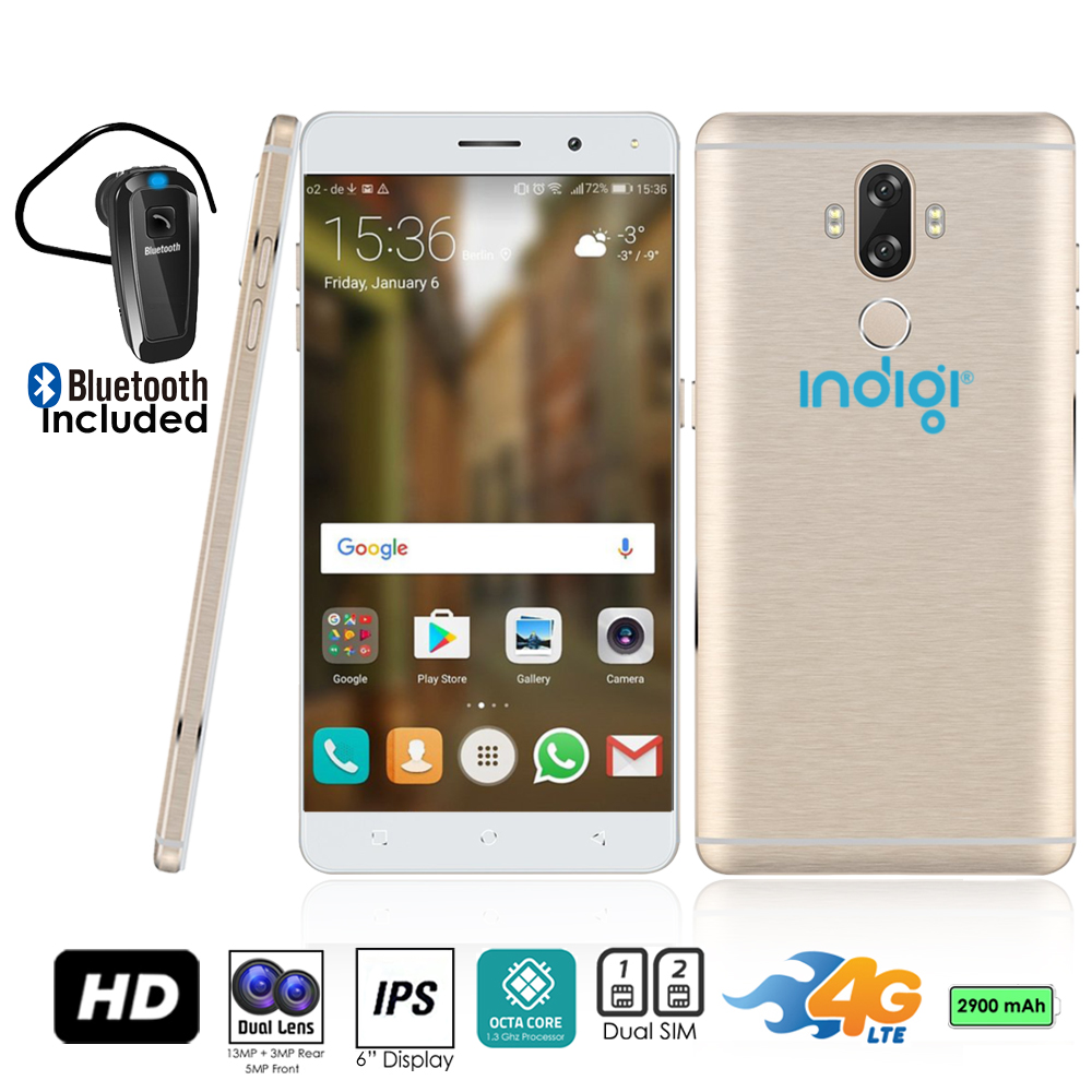 "Indigi® GSM Unlocked 4G LTE 6"" Android 7 Smartphone (Octa-Core @ 1.3ghz + 2SIM + Fingerprint) (Gold) + Bluetooth Headset"