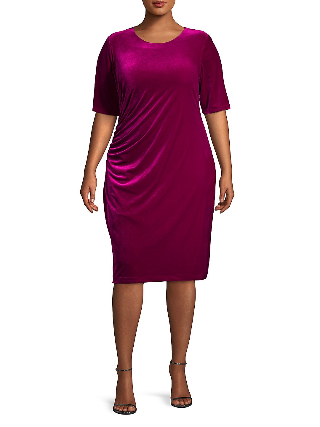 Plus Velvet Ruched Shift Dress