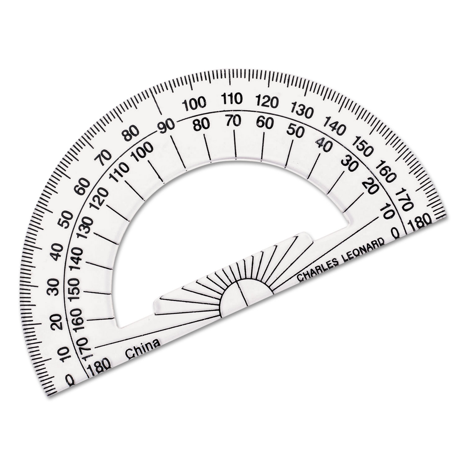 CLI Plastic Protractor, Pack of 12, Clear by CHARLES LEONARD, INC