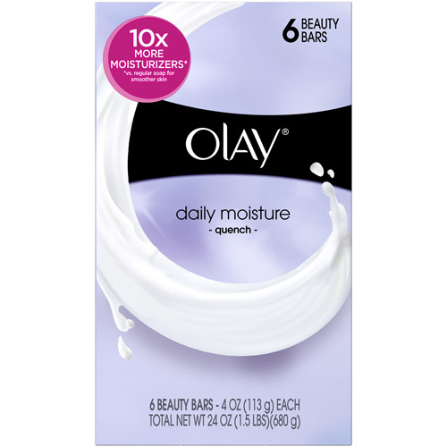 Olay Daily Moisture Quench Beauty Bar Soap 4 Oz, 6 Bath Bars