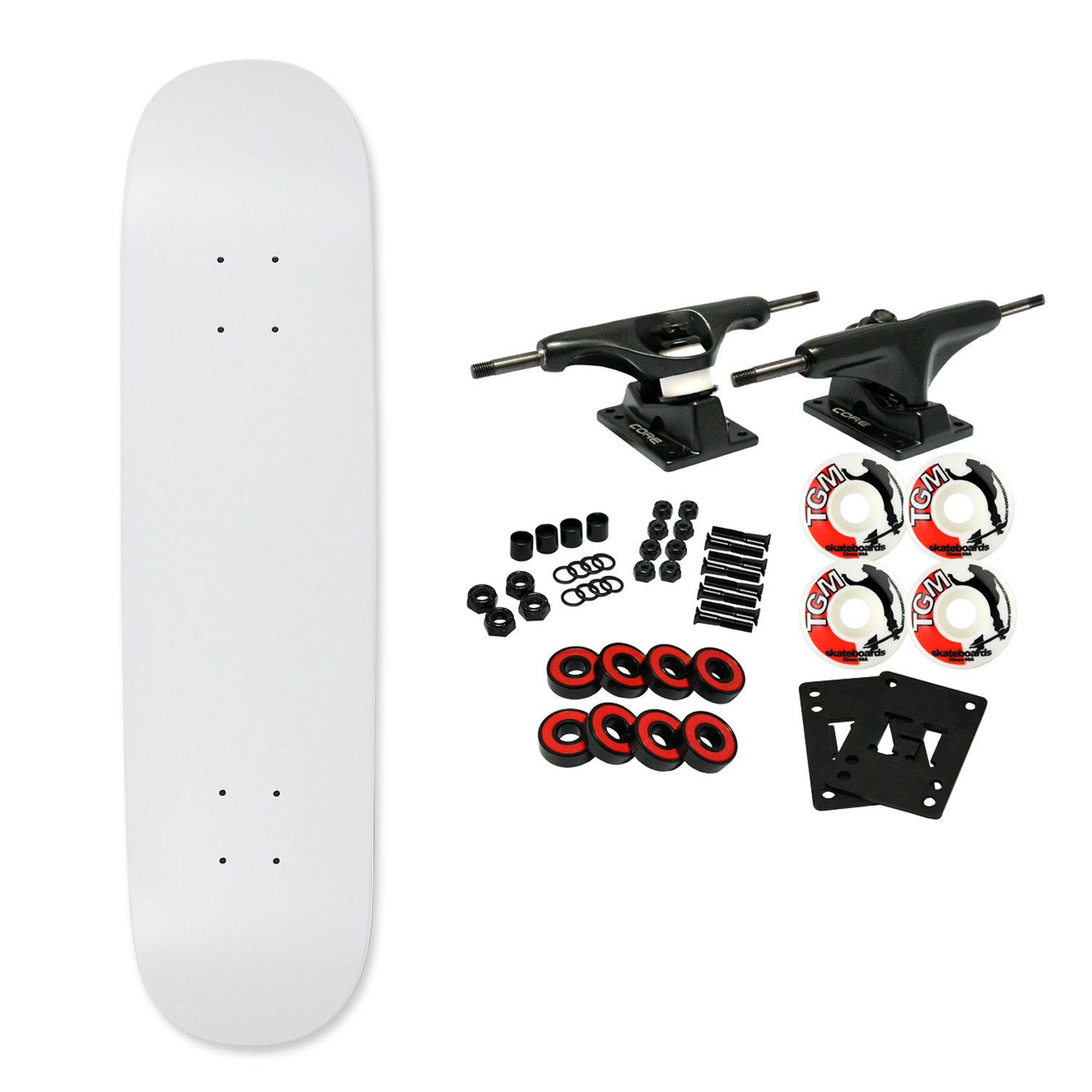 "Moose Complete Skateboard DIPPED WHITE 7.75"" Black/White"
