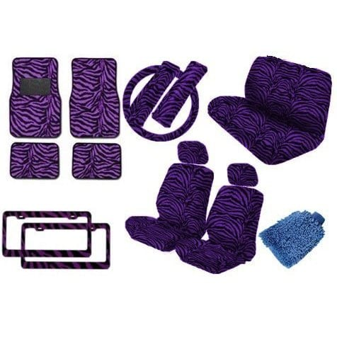 Unique Imports Car Truck Purple Zebra 18pc Low Front Seat Covers,Bench Rest,Steering