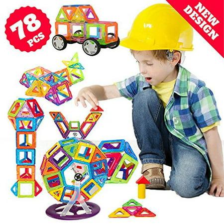 Stacrobats Magnetic Stacking - Magnetic Toys Blocks, 78 Pcs Kids Magnetic Tiles Building Blocks - Stacking Magnetix Toys for Boys Girls