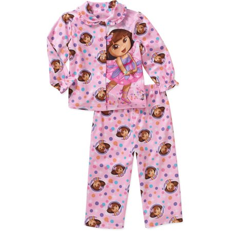 0df9a6795 Dora The Explorer - Baby Toddler Girls  Character Button Down Pajama ...