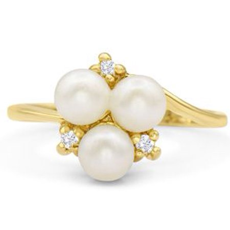 Round Freshwater Cultured Pearl and Diamond Cluster Ring In 14 Karat Yellow Gold