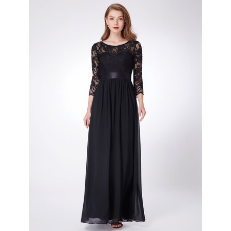 Ever-Pretty Womens Plus Size Formal Evening Wedding Guest Dresses for Women  74123 Black US22
