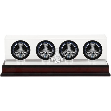 St. Louis Blues 2019 Stanley Cup Champions Mahogany Four Hockey Puck Logo Display