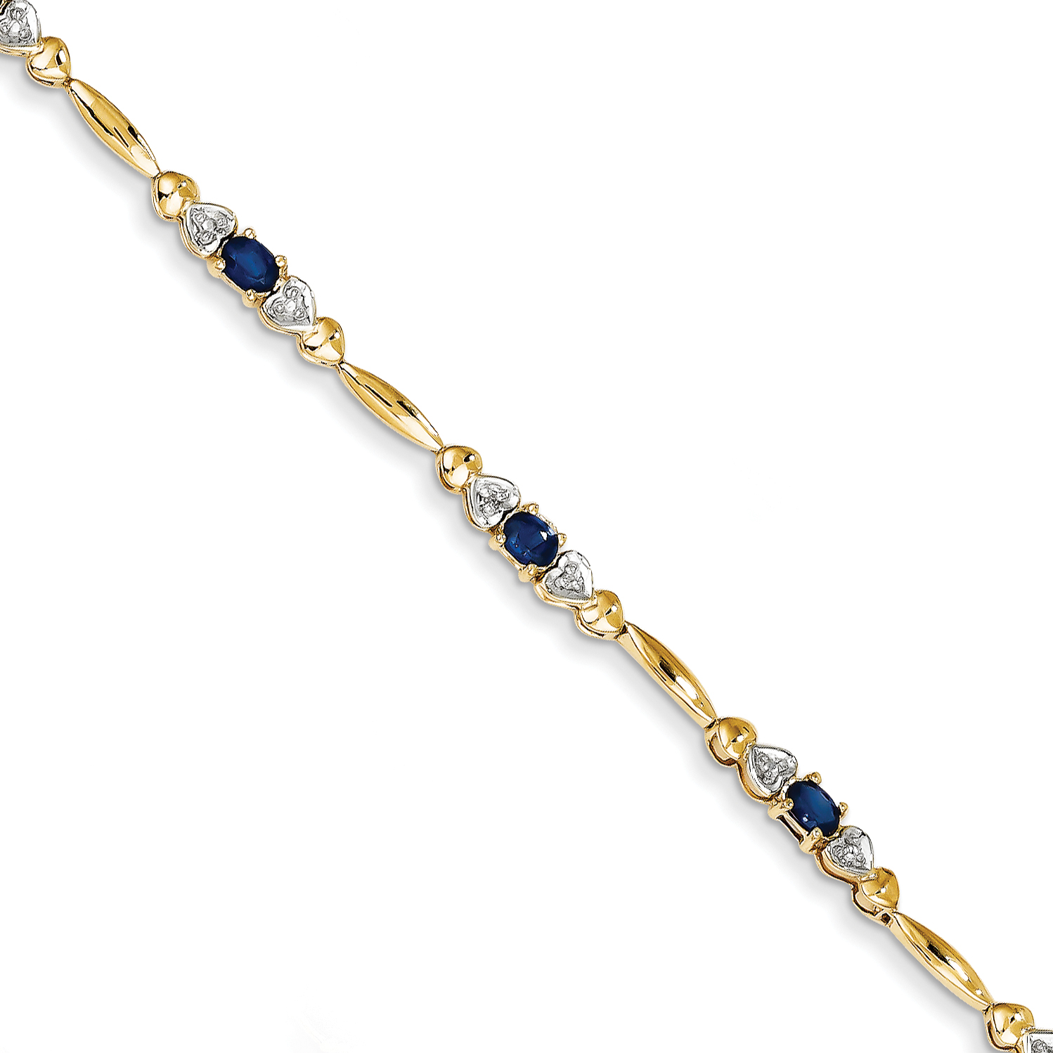 14k Yellow Gold Diamond and Sapphire Bracelet by