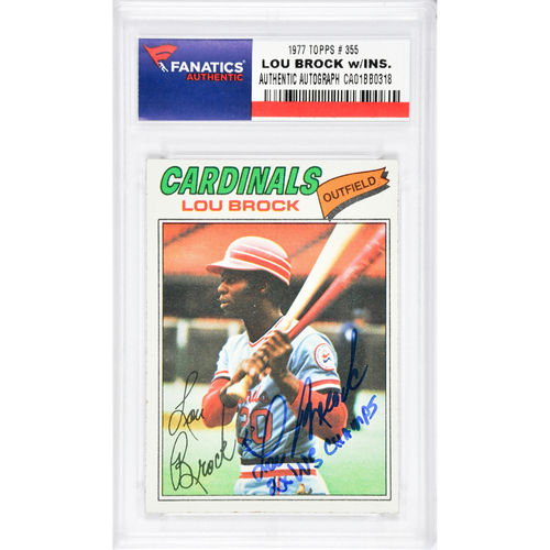 Lou Brock St. Louis Cardinals Autographed 1977 Topps #355 Card with 2 X WS Champs Inscription