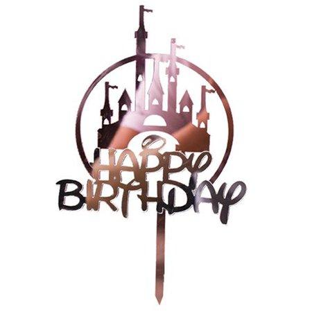 AkoaDa 1 PCS Baking Cake Decoration Supplies Acrylic Castle Cake Topper Happy Birthday Cake Decoration Castle Birthday Cake