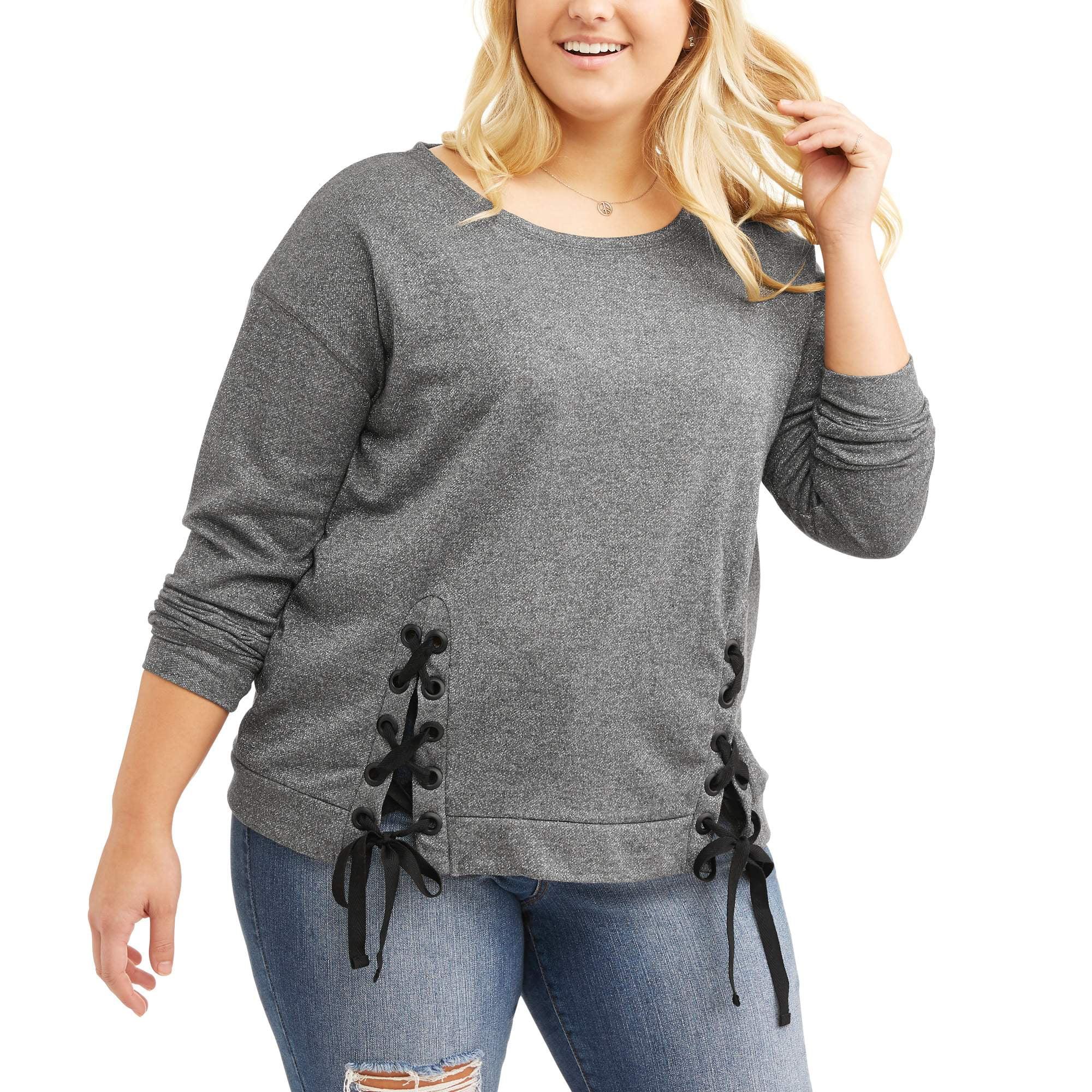 Junior Plus Lace Up Sweatshirt Scoop Neck Top