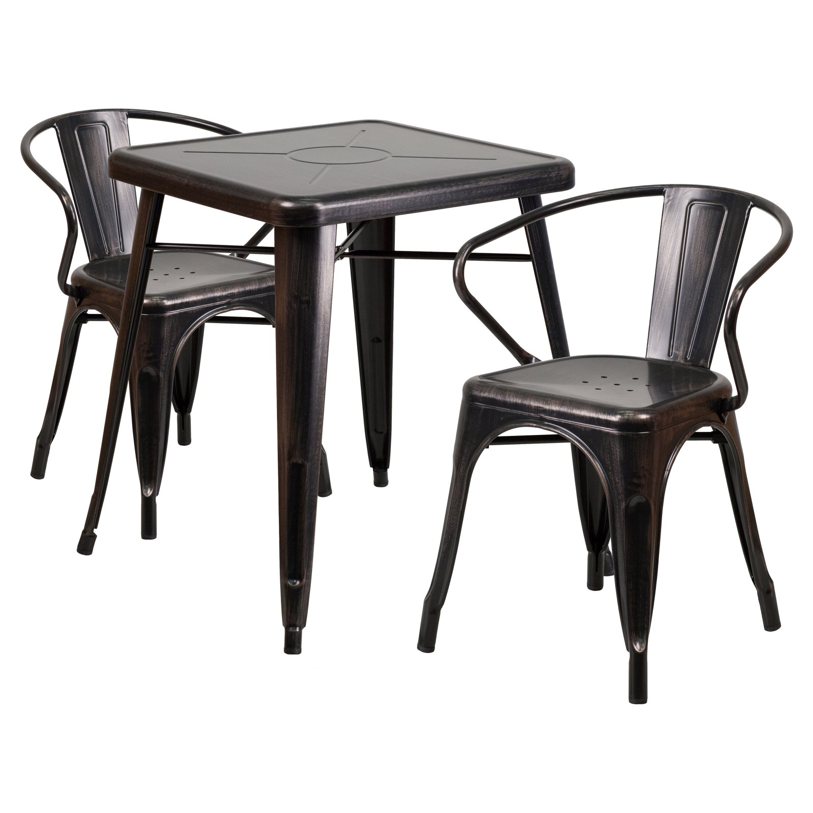 Flash Furniture 23.75'' Square Black-Antique Gold Metal Indoor-Outdoor Table Set with 2 Armchairs by Flash Furniture